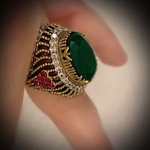 Size 8 EMERALD RUBY ART RING Solid 925 Silver/Gold